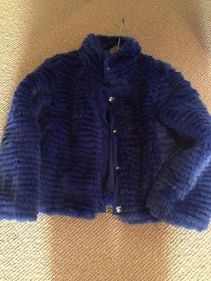 Girls Designer 'Fun & Fun' Blue Faux Fur Jacket 5 Years