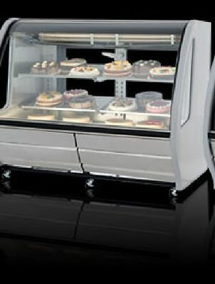"""New White 56"""" Curved Deli Bakery Display Case Refrigerated Or Dry / With Casters"""