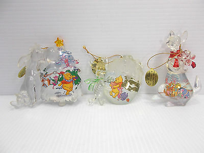 Disney Bradford Exchange 2nd Issue Winnie The Pooh Crystal Clear Ornaments COA c
