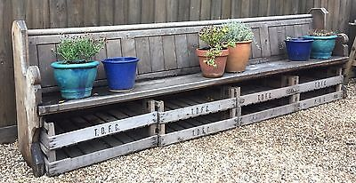 Fantastic Solid Weathered Old Oak Church Pew Over 10ft Long / Outside Bench