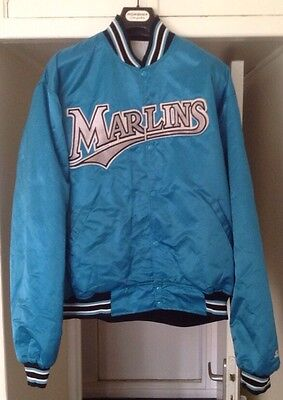 Vintage 90's Florida Marlins jacket satin MLB Veste Baseball XXL - Rare