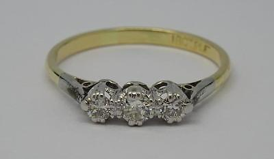 ***vintage 18Ct Gold & Platinum 0.25Ct Three Stone Diamond Trilogy Ring***