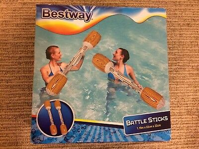 Beach Pool Water Sport 2 Inflatable Floating Battle Sticks & Repair Patch