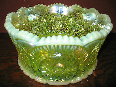 Vaseline Carnival glass serving bowl uranium opalescent iridescent candy yellow