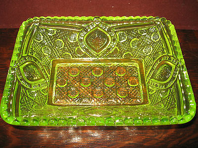 Vaseline glass floral oval pattern candy jam soap dish uranium yellow tray bowl