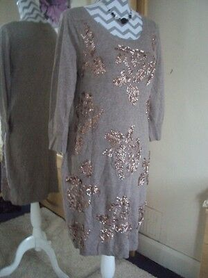 MONSOON Ladies Fabulous Sequined Knitted Winter Dress**Size 12-14 M