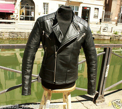 Giubbotto giacca moto in pelle vintage originale cafe racer anni 70 tg L