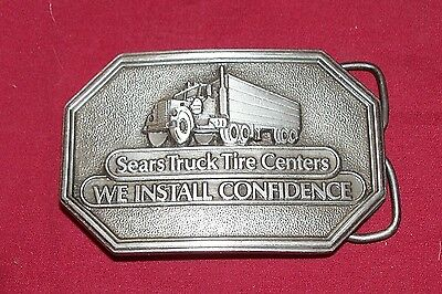 Old '83 Brass Sears Truck Tire Center Belt Buckle Trucking Truckers Mens Vintage