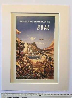 "Fly to the Caribbean by BOAC 1951: vintage travel advert Mounted poster 14"" x 11"