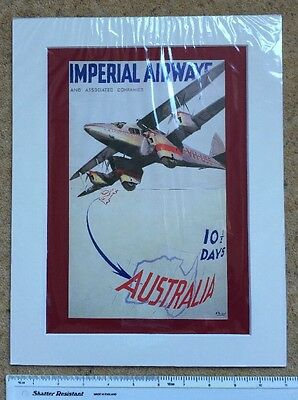 "Imperial Airways to Australia: 1935: Airline advert: Mounted poster 14"" x 11"""