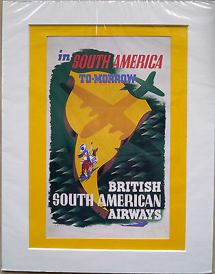 "In South America tomorrow 1946: Mounted poster 14"" x 11"": Vintage airline advert"