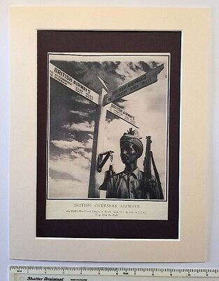 "British Overseas Airways airline advert 1946: BOAC: Mounted poster 14"" x 11"""