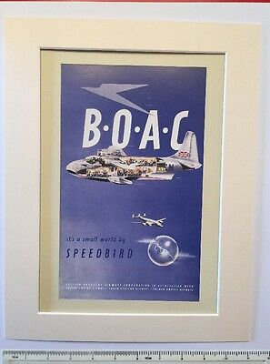 "BOAC Its a small world by Speedbird 1946 vintage advert Mounted poster 14"" x 11"""