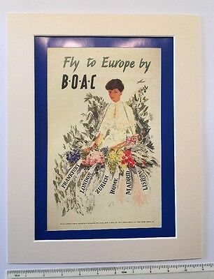 "Fly BOAC to Europe 1952 vintage airline holiday advert: Mounted poster 14"" x 11"""