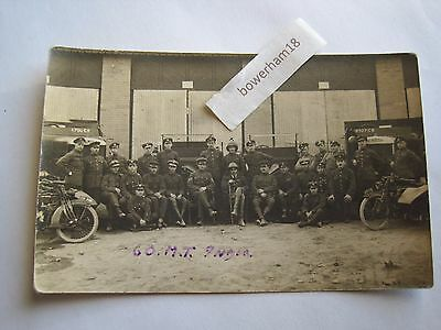 WW1 military transport RP India motor cycles lorries