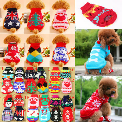Pet Dog Cat Christmas Warm Clothes Costumes Puppy Winter Sweater Coat Apparel
