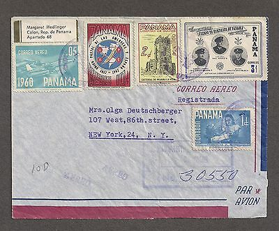 Panama 1963 Registered Air Mail Cover Colon to New York