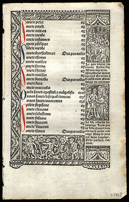 Book of Hours Leaf 510 Yrs Old Simon Vostre Litany of Saints Private Devotional