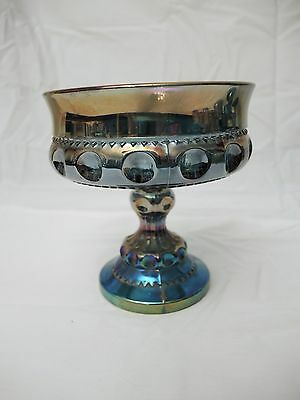 Indiana Glass Blue Carnival Compote - Kings Crown - Vintage Usa