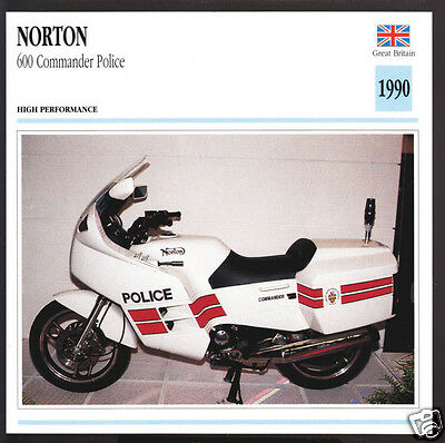 1990 Norton 600cc Commander Police Rotary-Engine (588cc) Motorcycle Photo Card
