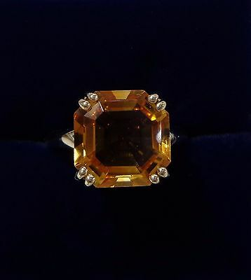 9ct Yellow Gold Citrine Solitaire Ring - Asscher Cut - Size M 1/2