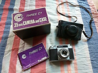 Vintage SLR Camera 'Three Cs' in original hard leather case, box & instructions
