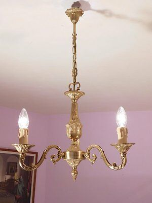 Very Decorative 3 Light Vintage French Bronze Chandelier
