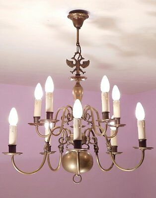 Huge Vintage 10 Light Two Tier Flemish Chandelier in Brass