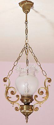 Elegant Vintage French Bronze Oil Lamp Chandelier