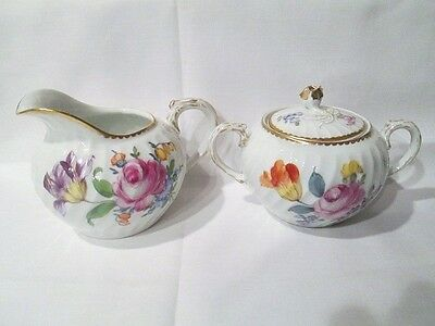 Nymphenburg Hand Painted Floral Creamer & Covered Sugar Bowl, Gold Tooth Trim