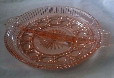 Vintage Pink Indiana Glass Windsor Button and Cane Divided Relish Dish