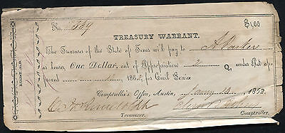 1862 $1 One Dollar Treasury Warrant Austin, Texas Civil Service Issue