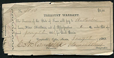 1862 $5 Five Dollars Treasury Warrant Austin, Texas Civil Service Issue