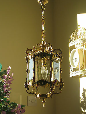 *Pretty*Ornate French Vintage Brass 6 Panel Glass Chandelier Hall Lantern Light
