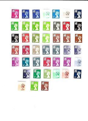 Wales  Regional Definitives  Total 44  Stamps  (All Mint Never Hinged)