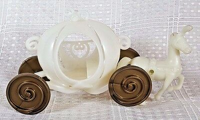 """White Cinderella Plastic Carriage w/Gold Wheels and Horse 4"""""""