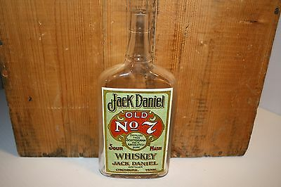 """Antique Whiskey Bottle JACK DANIELS OLD #7 Cork Top 8"""" tall  Reproduction label"""