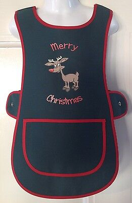 Brand New Children's Tabard Apron 3-4 Years Rudolph Print Kids Christmas Green