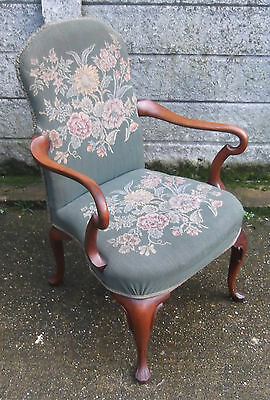 Superb Victorian Walnut Tapestry Armchair Very Clean Delivery Available