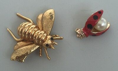 2pc Finely Detailed Ladybug & bee Pins In Gold Tone Metal