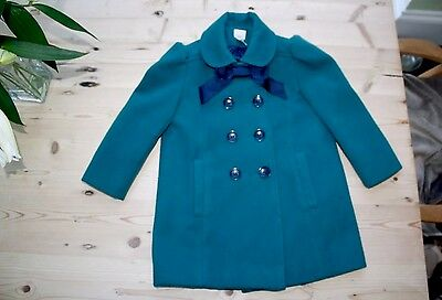 Girls Beautiful Thick Warm Dark Teal Monsoon Winter Coat, Age 5-6 years