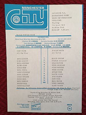 Manchester City Youth v Burnley Youth (Lancs Youth Cup) 1982/83 Programme