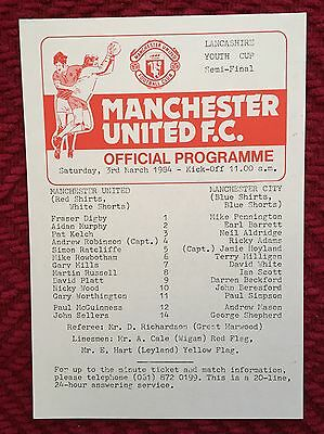 Man Utd Youth v Manchester City Youth (Lancs Youth Cup) 1983/84 Programme