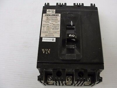 Challenger Circuit Breaker 3 Pole Issue # LP-1840 480 VAC 60 AMP