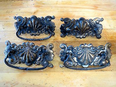"Metal Drawer Pulls 4.5"" Ornate Vintage Lot of 4 with Screws"