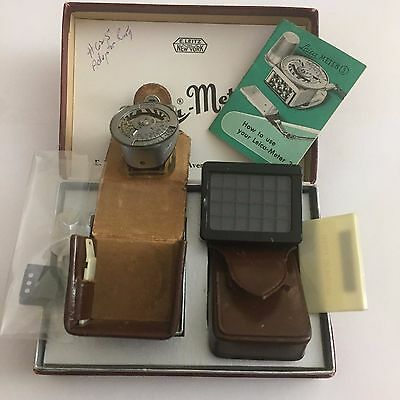 Leica METRAPHOT Leica-Meter 3 NY Chrome Light Meter  w/ Box & Leather Cases