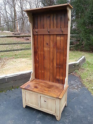 """Amish Built Unfinished Reclaimed Barn Wood Hall/foyer Coat Tree Rack  32"""" Wide"""