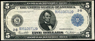 FR. 851a 1914 $5 FIVE DOLLARS FRN FEDERAL RESERVE NOTE NEW YORK, NY XF