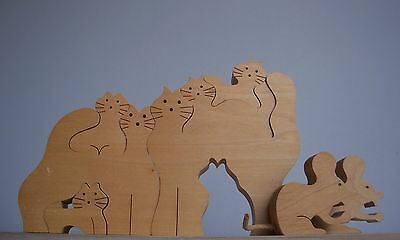 Swiss NAEF Wooden Toys Sabu Oguro Jigsaws Puzzle Cats / Figurines