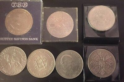 7 Commemorative Crown / 5 Shilling Coins, All Different